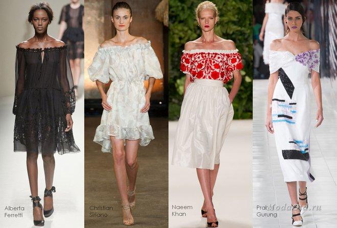 Что носить летом: платье с открытыми плечами