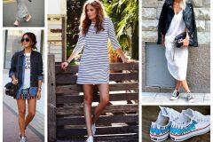 Как сочетать юбку с кедами