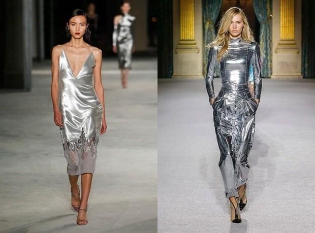 Звездный тренд: платья цвета металлик