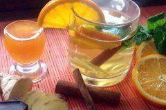 Праздничный апельсиновый коктейль с имбирем и мятой